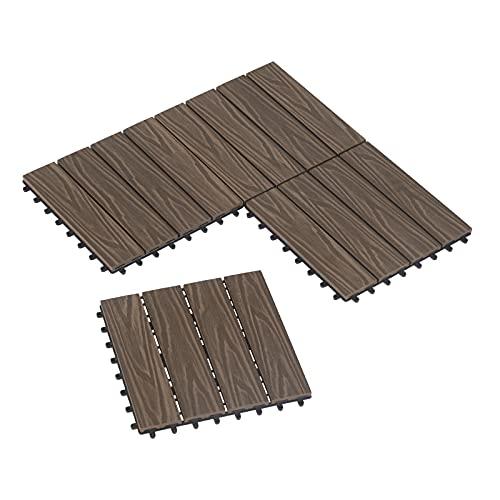 Laneetal 11x Suelo de WPC Suelo de Exterior Baldosas de Madera Exterior para Porche Patios Jardin, 30 x 30 cm Compuesta Azulejos Baldosas de WPC para Terraza Sistema Encaje Braun