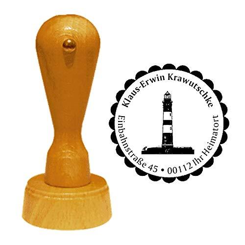 Stempel Adressstempel « Leuchtturm Insel Amrum » Durchmesser ca. Ø 40 mm - mit persönlicher Adresse, Motiv und Zierrand