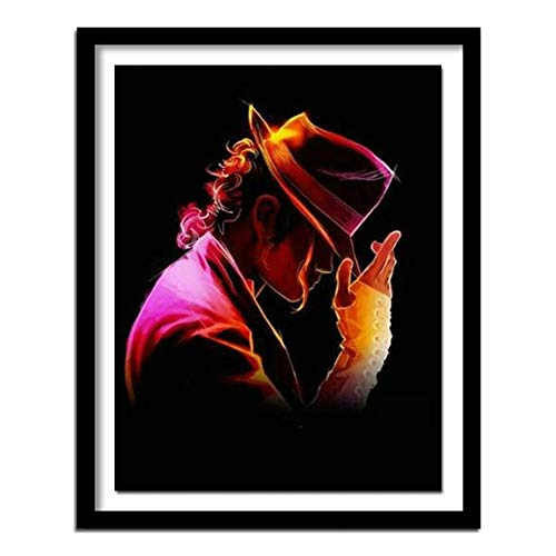 5D Pintura Diamante Painting Kit DIY Taladro Completo Michael Jackson Adultos Niño Punto Cruz Cuadro Grande Puzzle Rhinestone Bordado Art Home Pared Decor Manualidades 50x60cm C1775