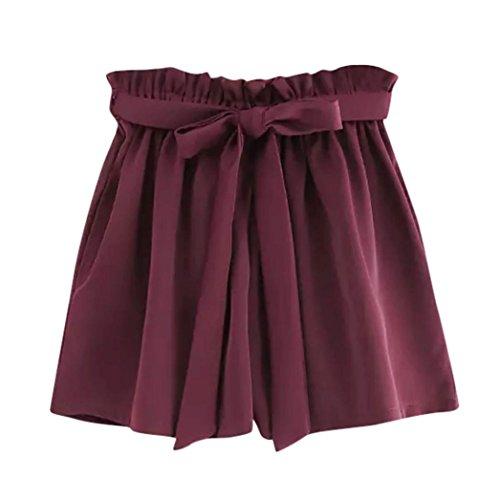 ZARU Damen Casual Shorts, Sommer Einfarbig Kurze Hose Elastische Taillen Taschen Kurzschluss-Hosen mit Tunnelzug, Retro-Sti Weite Bein Shorts (M, Weinrot)