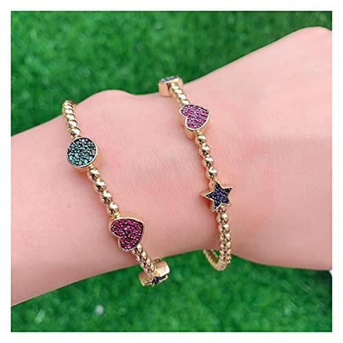 GaYouny Pulsera de Oro S Pulseras de Las Mujeres Crystal Star Heart Bangles para Las Mujeres Joyería de Moda de Cobre Bohemio