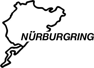 """Nurburgring Race Track Vinyl Decal Sticker Bumper Car Truck Window- 6"""" Wide Gloss RED Color"""