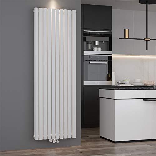 Design Röhren Heizkörper 590x1800mm Weiß Oval Paneelheizkörper Vertikal Mittelanschluss Doppellagig