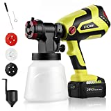 CACOOP Cordless Paint Sprayer Gun w/4.0Ah Battery and Fast Charger,1-Quart Container,550W Battery Powered HVLP Wireless Fogger Steam Gun for Fence Cabinet Furniture Ourdoor