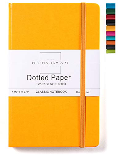 Minimalism Art, Classic Notebook Journal, A4 Size 8.3 X 11.4 inches, Yellow, Dotted Grid Page, 192 Pages, Hard Cover, Fine PU Leather, Inner Pocket, Quality Paper-100gsm, Designed in San Francisco