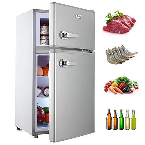 WANAICompactRefrigerator2DoorMiniFridgewithFreezerAdjustableRemovableShelvesRefrigeratorforOffice,Dorm,Apartment3.2cuft.Silver