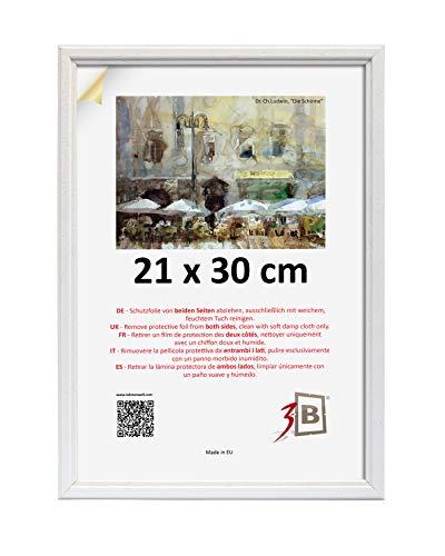 3B Cornice Jena 21x30 cm - Bianco - in Legno, Foto, Cornice da Parete con Vetro Poliestere (Foglio di plastica)