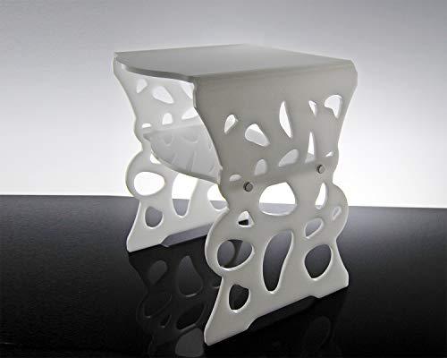 Slato - Table de nuit au design moderne à 2 étagères en plex transparent Marea (Blanc)