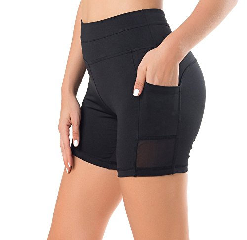 Sudawave Damen Mesh Radlerhose Kurze Leggings Yogahose Sporthose Shorts mit Taschen für Fitness (Schwarz, Medium)