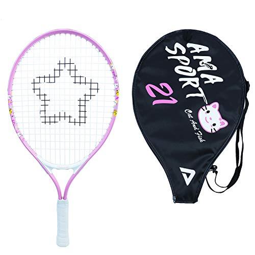 """Kids Tennis Racket for Junior Toddlers Starter Kit 21"""" Pink for Girl with Shoulder Strap Bag (Baby Pink, 21)"""