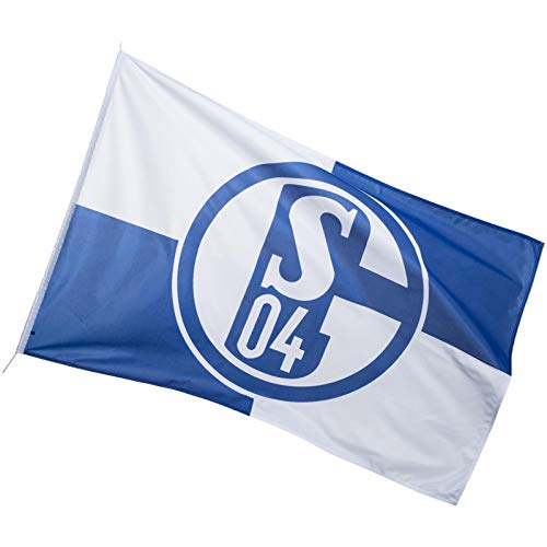FC Schalke 04 Hissfahne KARO -wetterfest Flagge, blau, 150 x 100 cm