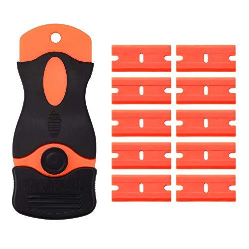 Asusee スクレーパー ポケットスクレーパー カーステッカーリムーバー ガラススクレーパー 安全スクレーパー プラスチック刃 ガラス汚れ落とし 替刃付10個 ステッカーはがし シール剥がし
