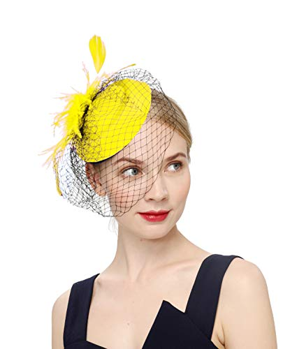 Fascinators Hats 20s 50s Hat Pillbox Hat Cocktail Tea Party Headwear with Veil for Girls and Women(B-yellow)