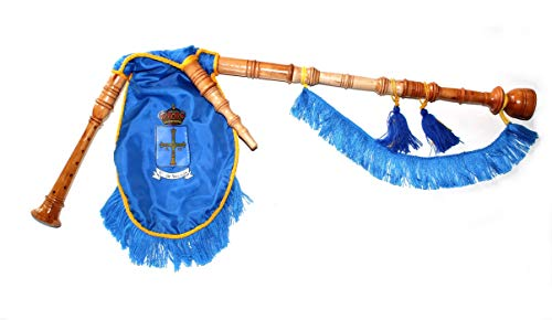 Gaita gallega de Juguete con Escudo de Asturias, en Madera de Fresno lacada al Natural, Fuelle de Tela Azul con Fleco Azul y Cordón Amarillo, para niños Que quieran Empezar a Dar Sus primeras
