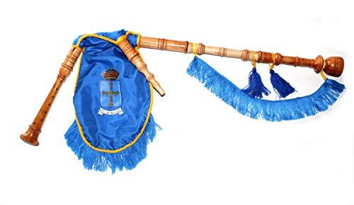 Gaita gallega de Juguete con Escudo de Asturias, en Madera de Fresno lacada al Natural, Fuelle de Tela Azul con Fleco Azul y Cordón Amarillo, para niños Que quieran Empezar a Dar Sus primeras Notas.