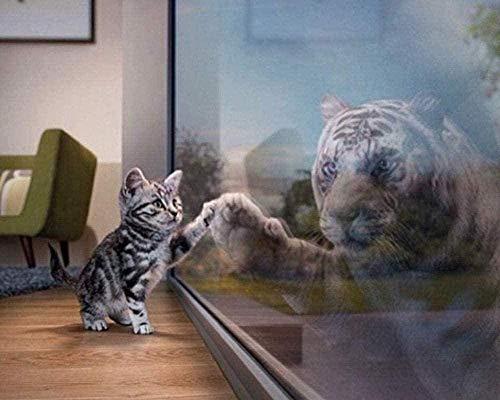 """Lsdakoop Zestaw do malowania według liczb """"zrób to sam"""" dla dorosłych dla dzieci zestaw farb akrylowych (40 cm x 50 cm bez ramy) - kotki i obrazy Shadow Tiger"""
