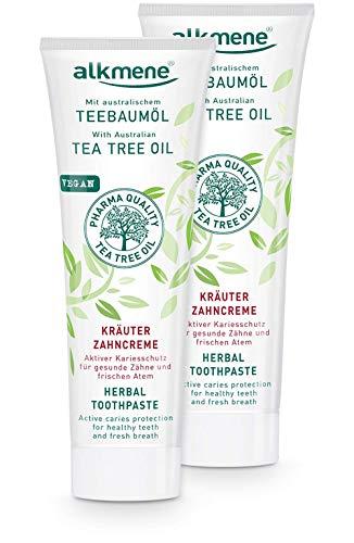 alkmene Kräuter Zahnpasta mit Teebaumöl - vegane Zahncreme für empfindliche Zähne ohne Silikone, Parabene & Mineralöl - Natürliche Toothpaste mit Fluorid im 2er Pack (2x 100 ml)