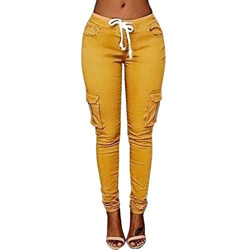 VRTUR Hosen, Damen Freizeithose Stretch Beiläufig Skinny Jogginghose Mode Hip Push up Slim Fit Pants Einfarbig Hose, Bequeme Elastischer Taille Jeans Khaki L