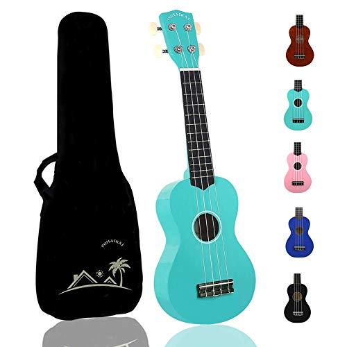 POMAIKAI Soprano Ukelele para Principiantes, Ukelele Hawaiano para Niños, Guitarra de 21 Pulgadas con Bolsa para Niños Estudiantes y Principiantes (Azul Claro)