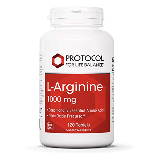 Protocol For Life Balance - L-Arginine 1,000mg - Essential Amino Acid and Nitric Oxide (NO) Precursor, Brain Booster, Helps Kidneys Detox, Supports Heart Health, Increase Blood Flow - 120 Tablets