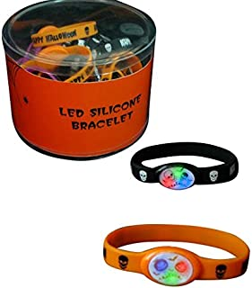 The Electric Mammoth 12 PC LED Light Up Flashing Halloween Party Silicone Bracelets Wristbands