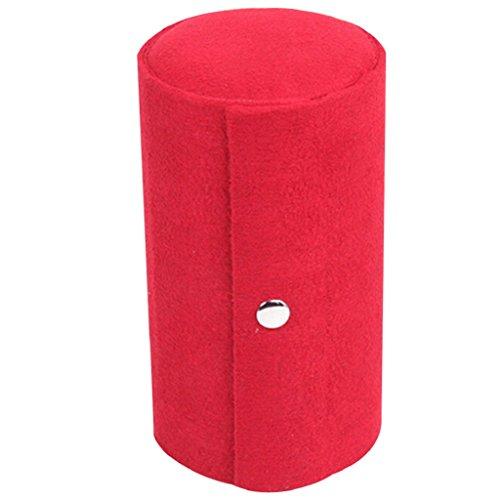 Bodhi2000 - scatola portagioielli da viaggio, 3scomparti circolari, portatile, da arrotolare, Red, taglia unica