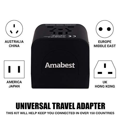 Amabest Global Universal Travel Adapter with 3 USB Plug Converter for Denmark, England, Norway, Sweden, Netherlands, Belgium, Jordan, Scotland, Ghana, Namibia, Kuwait, Zimbabwe, European, Uae, Fiji