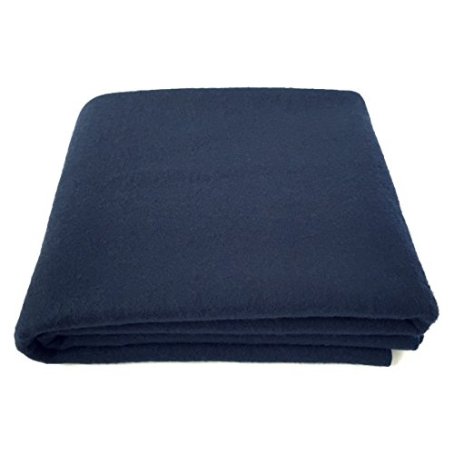 """EKTOS 100% Wool Blanket, Navy Blue, Warm & Heavy 5.5 lbs, Large Washable 66""""x90"""" Size, Perfect for Outdoor Camping, Survival & Emergency Preparedness Use"""