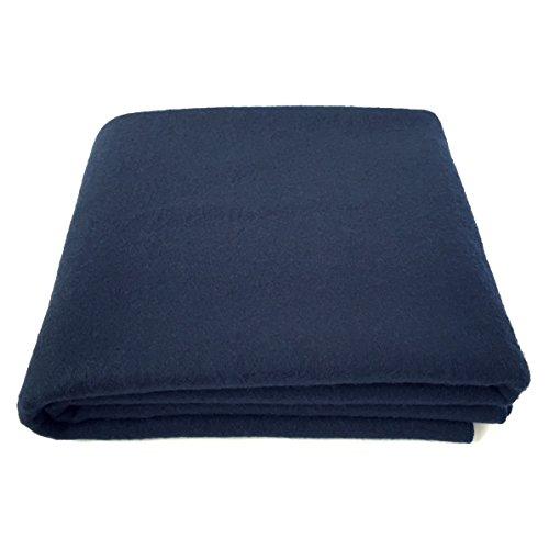 EKTOS 100% Wool Blanket, Navy Blue, Warm & Heavy 5.5 lbs,...
