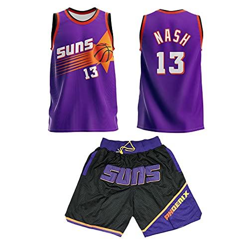 GFQTTY Camiseta De Baloncesto para Hombre, 13 Phoenix Suns Clásicos De La Temporada Camiseta De Baloncesto Sin Mangas Smooth Swingman Home, Chaleco + Pantalón Corto Camiseta De Baloncesto