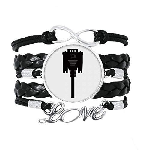 DIYthinker Schwarzes Display-Kabel mit Netzstecker für Armband, Liebesaccessoire, gedrehtes Leder, Strickseil, Geschenk