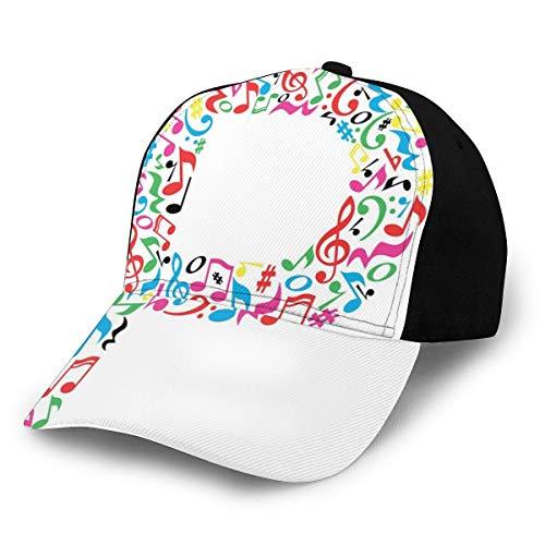 Hip Hop Sun Hat Baseball Cap,Notes of Music Harmoniously Combined Creating Capital...
