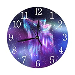 KiuLoam Aurora Polaris Galaxy Wolf Round Wall Clock Silent Non Ticking Battery Operated Easy to Read for Student Office School Home Decorative Clock Art