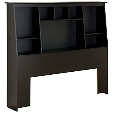 Black Full/Queen Tall Slant-Back Bookcase Headboard