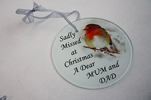 David Fischhoff Robin Christmas Tree Hanging Glass Memorial Ornament - Choice of Relative (Mum and Dad)