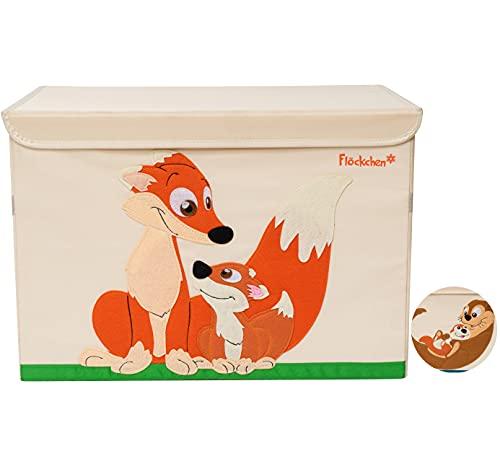 Flöckchen Caja de almacenamiento para niños, caja de juguetes para habitación infantil, caja de juguetes (62 x 38 x 37 cm), diseño de animales (familia zorro, gr)