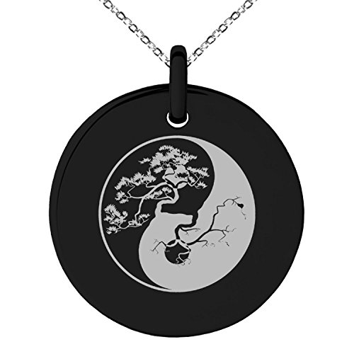 Tioneer Black Stainless Steel Bonsai Tree Yin Yang Symbol Small Medallion Circle Charm Pendant Necklace