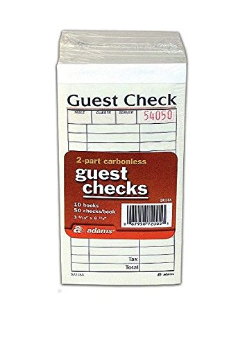Adams Guest Check Pads, 2-Part, Carbonless, White/Canary, 3-11/32' x 5-3/4, 50 Sets/Pad, 10 Pads/Pack