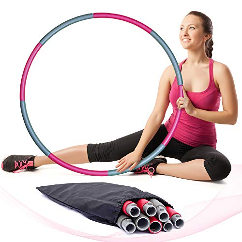 mobird Weighted Hula Hoops for Adults – 2lb Professional Hula Hoop for Exercise - 8 Detachable Sections and Carry Bag for Easy Storage – Foam Padded Weighted Hula Hoops for Adults Weight Loss