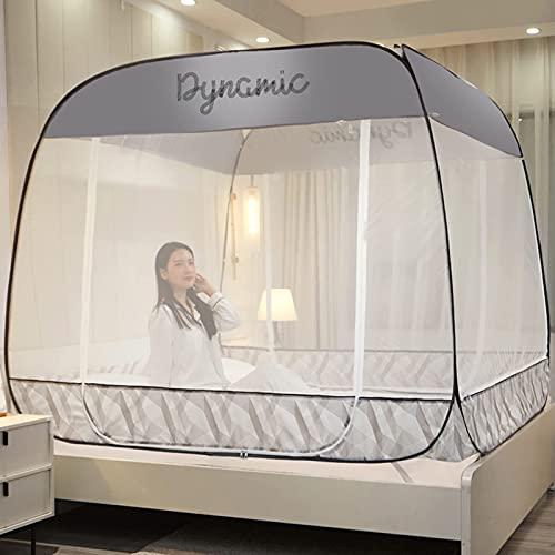 Riyyow Mosquiteras, Pop Up Mosquito Net para Cama Tienda portátil Travel Mongolian Yurt Dome Net Dobling 3 Puertas para Viaje al Aire Libre Bebé Niños Adulto (Color : Gray, Size : 150 * 200cm)