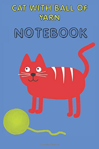 Cat with Ball of Yarn - Notebook - College Ruled - Blue - Red