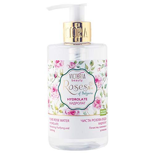 Victoria Beauty – Naturreines Rosenwasser Hydrolat – Rosenblütenwasser – Rose Water – Gesichtswasser gegen unreine Haut, Pickel und Akne – Reinigungswasser zum Abschminken – 250ml