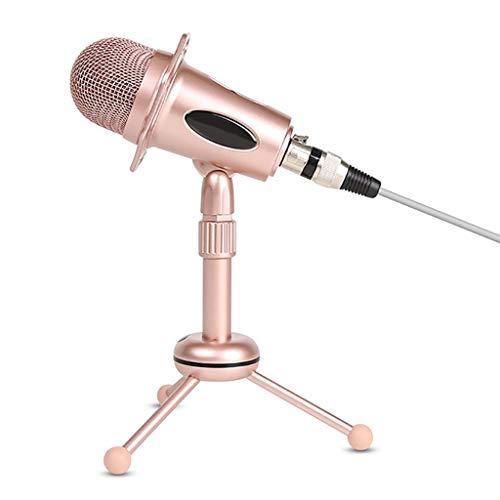 JYDQB Kit de micrófono de Condensador Rosa para computadora, teléfono, micrófono en Vivo, Plug and Play, micrófono de Chat con Soporte telescópico para niña