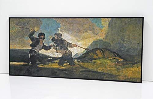 BaikalGallery Francisco DE Goya Duelo A GARROTAZOS -Cuadro Enmarcado – (P2536)-Moldura de Aluminio Mate Negro de 1,5cm - Montaje en Panel Adhesivo (Foam)- Laminado en Mate (Sin Cristal)(45x100cm)