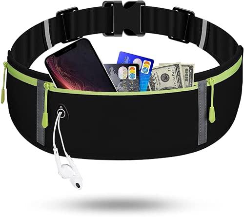 Cinturón para Correr, riñonera de Moda, riñonera Impermeable para Hombres y Mujeres, Adecuado para Hombres y Mujeres Que corren con teléfonos móviles (Black)