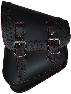 La Rosa Harley-Davidson Softail & Rigid Black Leather Cross Lace Saddle Bag with Red Stitching