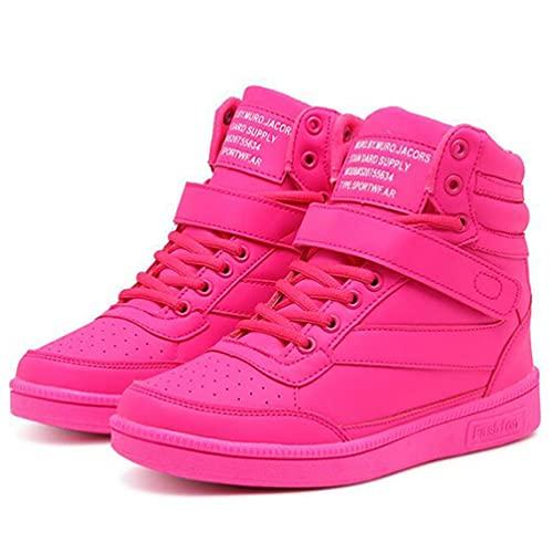 Moda Altura Interior Mujeres Zapatos Planos con Cordones Transpirable Comodidad Todo-fósforo Damas Zapatillas de Deporte al Aire Libre Zapatos Deportivos Antideslizantes de Fondo Suave