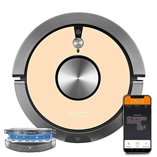 ZACO A9sPro Robot Aspirador con función de fregado, aplicación y Alexa, Mapping, hasta 2 h de aspiración, para Suelos Duros, alfombras, Pelo de Animales, con estación de Carga, Color Beige champán