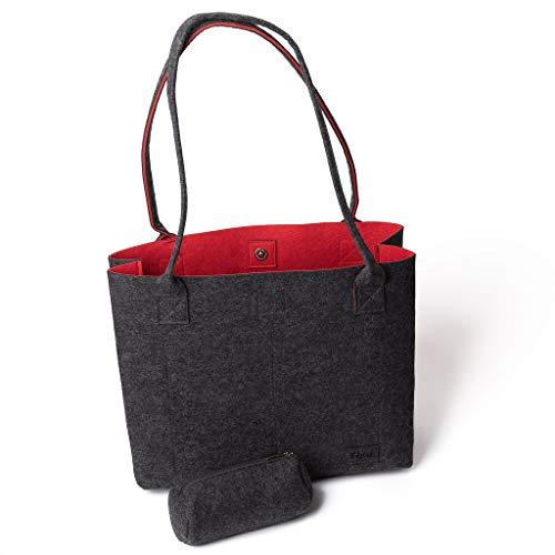 Filztasche Shopper Einkaufstasche Damen Handtasche Shopper Greta Filztaschen Tragetasche Schultertasche, Dunkelgrau & Rot (15L)
