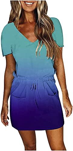 DLRBDMM Vestido de manga corta para mujer, color degradado, vestidos casuales con bolsillos, con cordón y fruncido (color: azul, tamaño: grande)